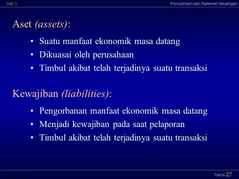 Bab 3Perusahaan dan Statemen Keuangan9/12/2014 Transi 28 Ekuitas (equity): Dari sudut pemilik: Hak residual pemilik atas aset setelah dikurangi semua kewajiban.