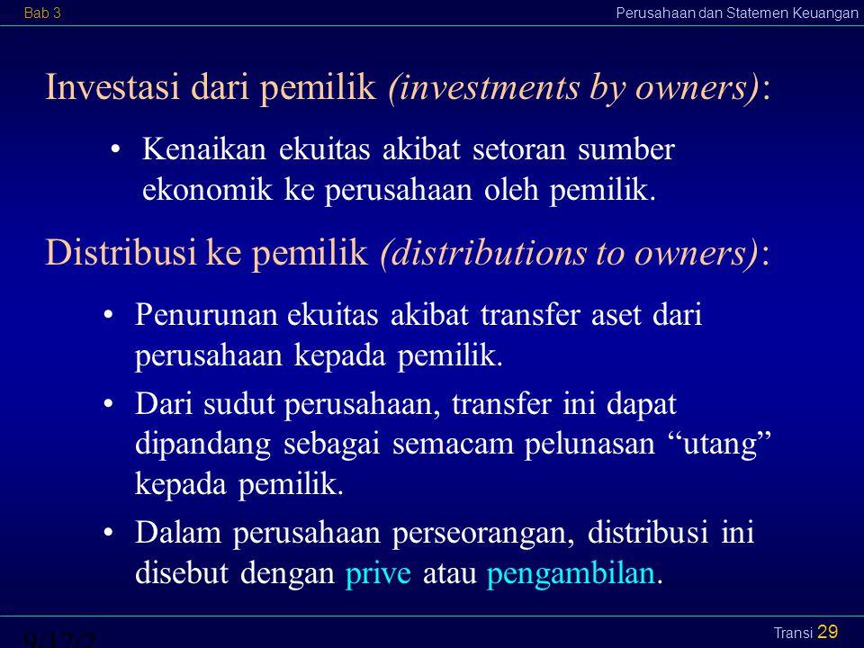 Bab 3Perusahaan dan Statemen Keuangan9/12/2014 Transi 30 Pendapatan (revenues): Aliran masuk sumber ekonomik (kas atau aset lainnya) ke dalam perusahaan atau kenaikan aset yang berasal dari penyerahan barang atau jasa sebagai kegiatan utama atau sentral perusahaan.