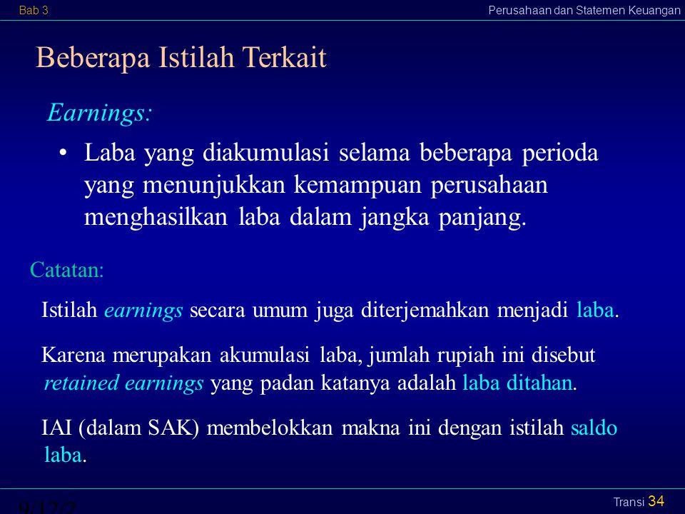 Bab 3Perusahaan dan Statemen Keuangan9/12/2014 Transi 35 Prinsip Penyajian Elemen dalam SK: Aset umumnya disajikan atas dasar kelancarannya.
