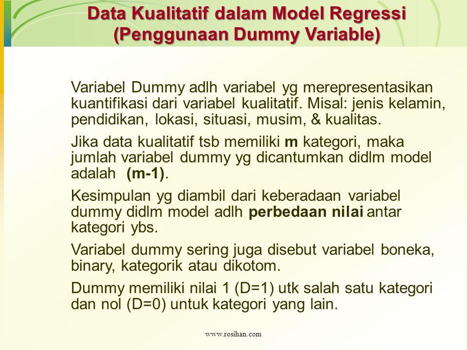 Data Kualitatif dalam Model Regressi (Penggunaan Dummy Variable) Variabel Dummy adlh variabel yg merepresentasikan kuantifikasi dari variabel kualitat