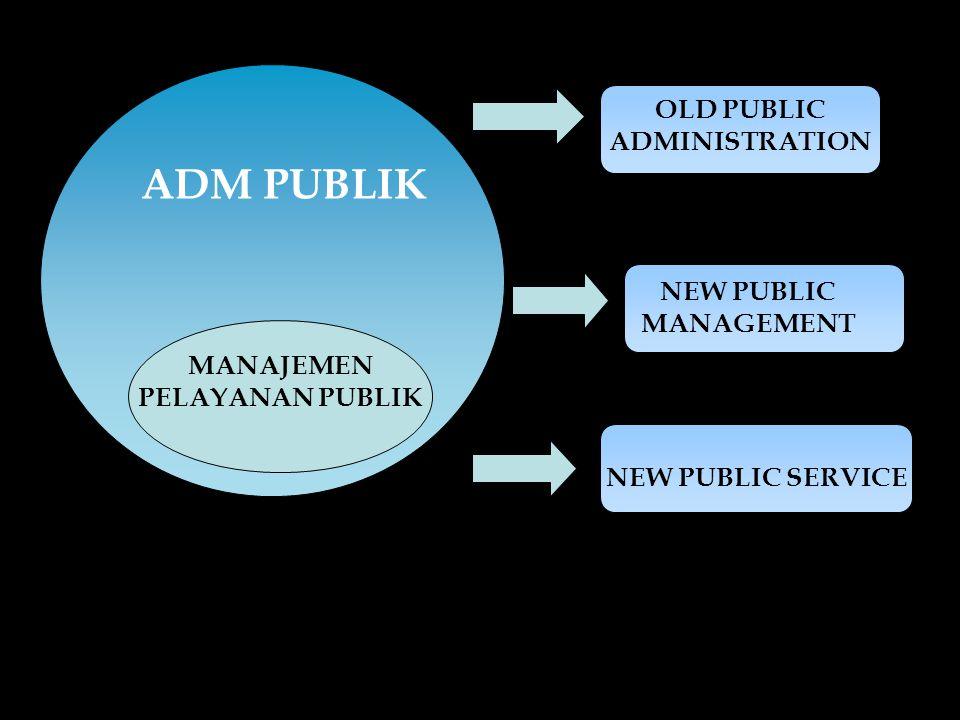 ADM PUBLIK MANAJEMEN PELAYANAN PUBLIK OLD PUBLIC ADMINISTRATION NEW PUBLIC MANAGEMENT NEW PUBLIC SERVICE