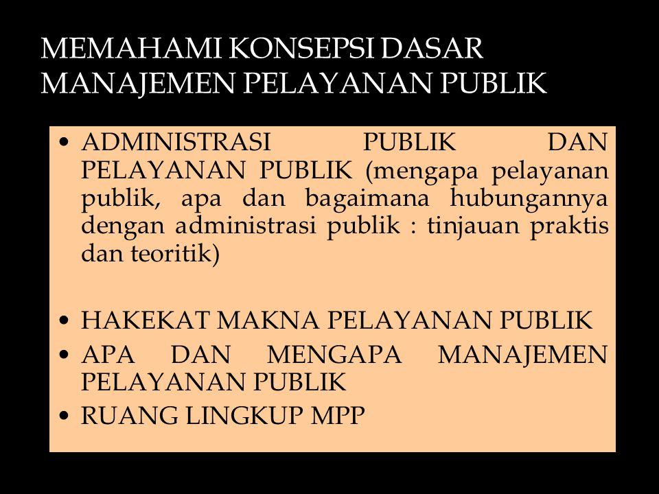 MEMAHAMI KONSEPSI DASAR MANAJEMEN PELAYANAN PUBLIK ADMINISTRASI PUBLIK DAN PELAYANAN PUBLIK (mengapa pelayanan publik, apa dan bagaimana hubungannya d