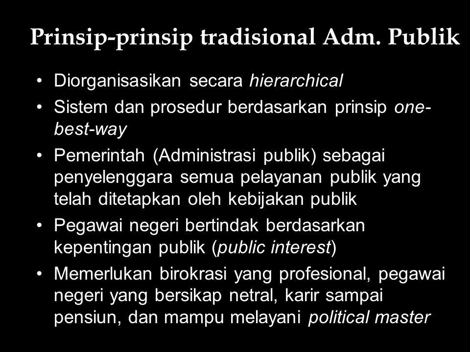 Prinsip-prinsip tradisional Adm. Publik Diorganisasikan secara hierarchical Sistem dan prosedur berdasarkan prinsip one- best-way Pemerintah (Administ