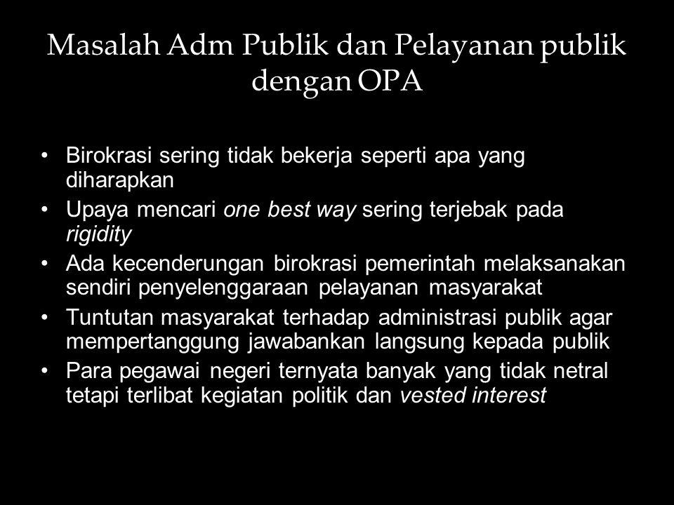 Masalah Adm Publik dan Pelayanan publik dengan OPA Birokrasi sering tidak bekerja seperti apa yang diharapkan Upaya mencari one best way sering terjeb