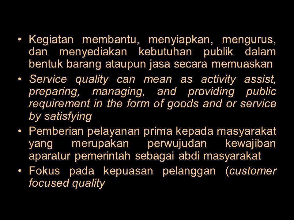 Kegiatan membantu, menyiapkan, mengurus, dan menyediakan kebutuhan publik dalam bentuk barang ataupun jasa secara memuaskan Service quality can mean a