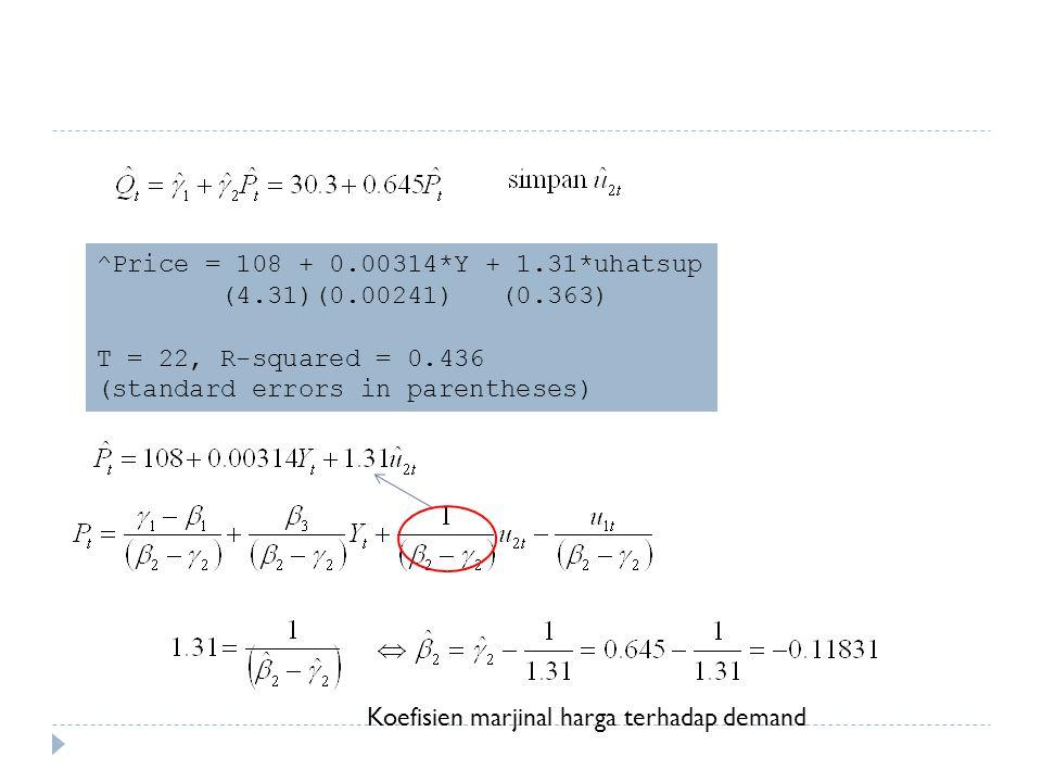 ^Price = 108 + 0.00314*Y + 1.31*uhatsup (4.31)(0.00241) (0.363) T = 22, R-squared = 0.436 (standard errors in parentheses) Koefisien marjinal harga terhadap demand
