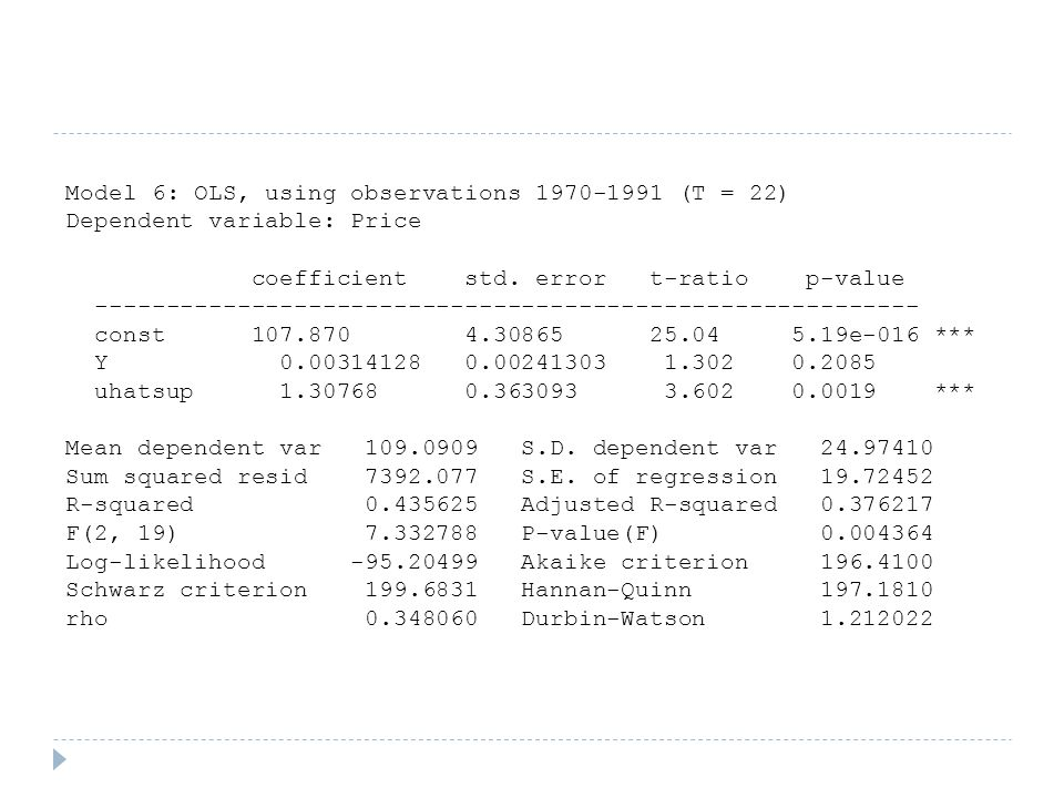 Model 6: OLS, using observations 1970-1991 (T = 22) Dependent variable: Price coefficient std.