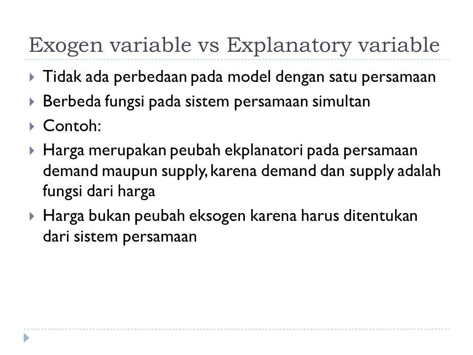  Fungsi demand: underidentified  Dengan metode TSLS  Tahap 1:  Menduga persamaan harga sebagai fungsi dari pendapatan saja (Price reduced form equation)  Simpan penduga harga dengan model ini  Tahap 2:  Menduga persamaan fungsi demand, menggunakan penduga harga sebagai pengganti peubah harga