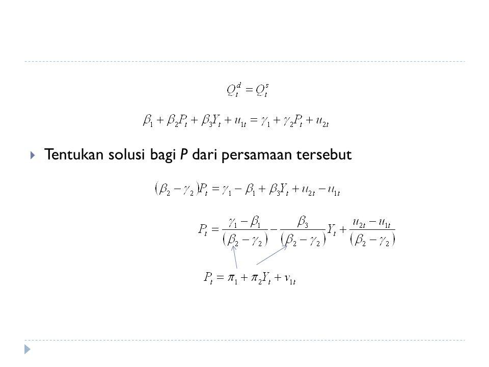  Karena penduga harga (P) berkorelasi langsung dengan pendapatan (Y), maka penduga fungsi demand harus memakai salah satu dari peubah tsb  Hanya penduga harga dengan hasil: ^Qprod = 30.3 + 0.646*Phat1 (51.7) (0.473) T = 22, R-squared = 0.085 (standard errors in parentheses)  Hasil yang sama dengan fungsi supply yang teridentifikasi dengan metode ILS  Yang teridentifikasi hanya fungsi supply