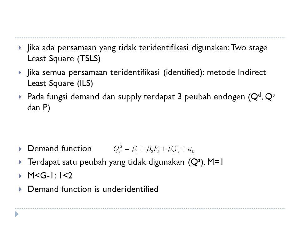 Jika ada persamaan yang tidak teridentifikasi digunakan: Two stage Least Square (TSLS)  Jika semua persamaan teridentifikasi (identified): metode Indirect Least Square (ILS)  Pada fungsi demand dan supply terdapat 3 peubah endogen (Q d, Q s dan P)  Demand function  Terdapat satu peubah yang tidak digunakan (Q s ), M=1  M<G-1: 1<2  Demand function is underidentified