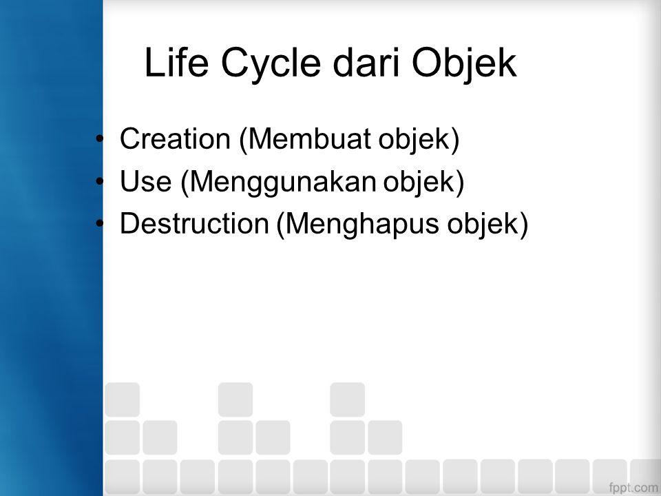 Life Cycle dari Objek Creation (Membuat objek) Use (Menggunakan objek) Destruction (Menghapus objek)