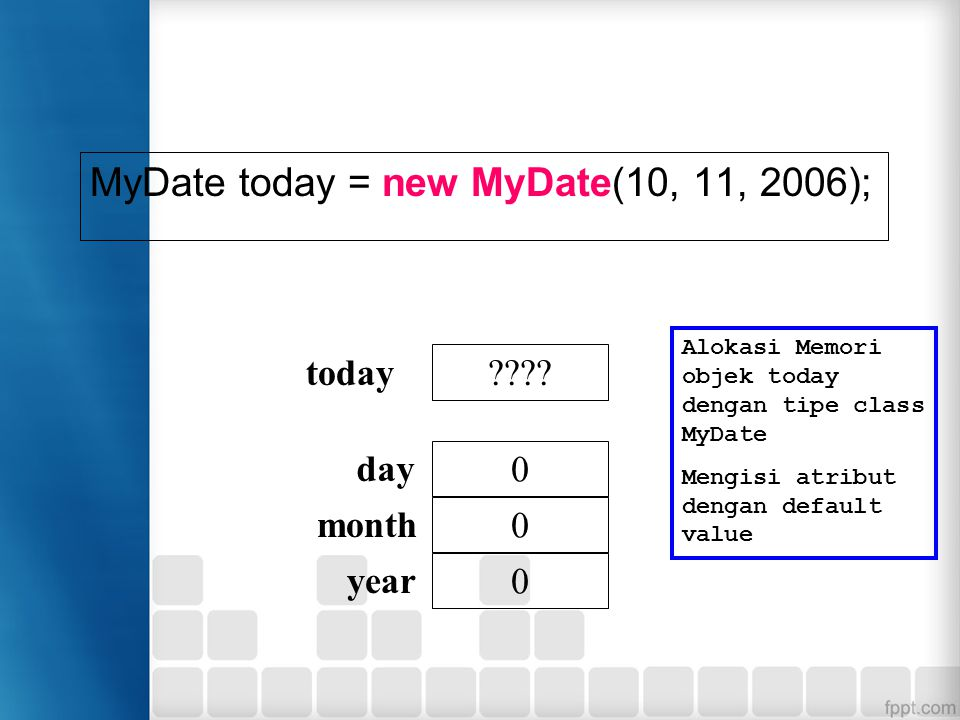 MyDate today = new MyDate(10, 11, 2006); ???.