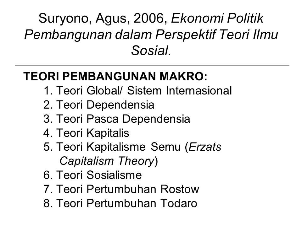 Suryono, Agus, 2006, Ekonomi Politik Pembangunan dalam Perspektif Teori Ilmu Sosial. TEORI PEMBANGUNAN MAKRO: 1. Teori Global/ Sistem Internasional 2.