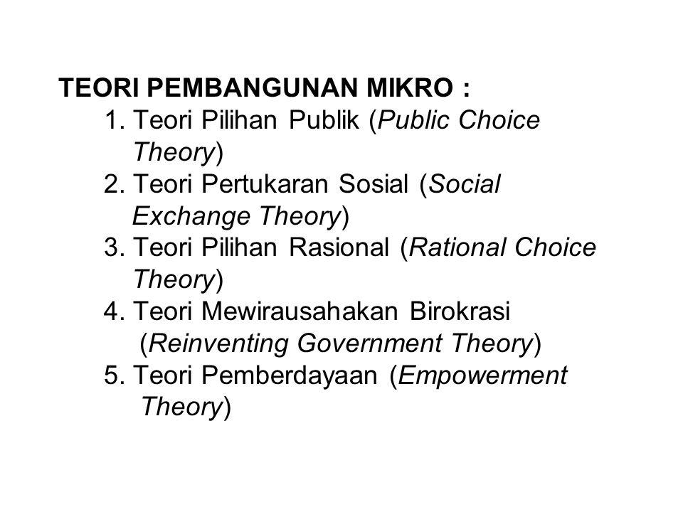 TEORI PEMBANGUNAN MIKRO : 1. Teori Pilihan Publik (Public Choice Theory) 2. Teori Pertukaran Sosial (Social Exchange Theory) 3. Teori Pilihan Rasional