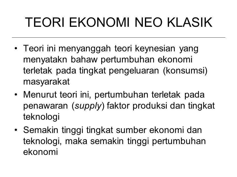 TEORI EKONOMI NEO KLASIK Teori ini menyanggah teori keynesian yang menyatakn bahaw pertumbuhan ekonomi terletak pada tingkat pengeluaran (konsumsi) ma