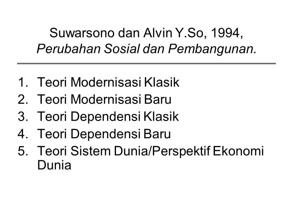 Suwarsono dan Alvin Y.So, 1994, Perubahan Sosial dan Pembangunan. 1.Teori Modernisasi Klasik 2.Teori Modernisasi Baru 3.Teori Dependensi Klasik 4.Teor