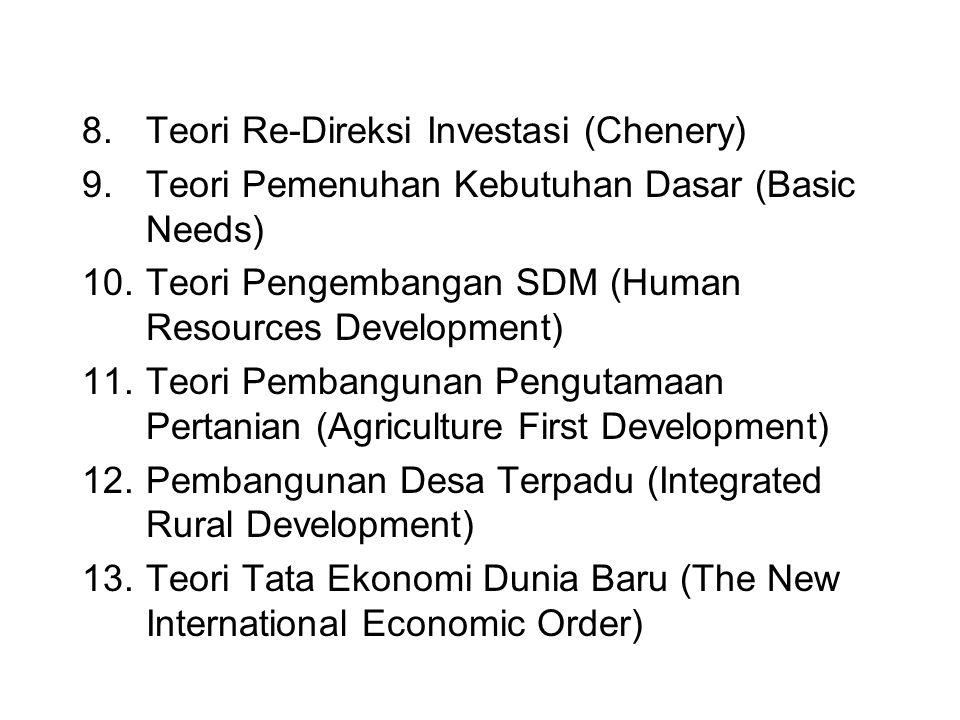 8.Teori Re-Direksi Investasi (Chenery) 9.Teori Pemenuhan Kebutuhan Dasar (Basic Needs) 10.Teori Pengembangan SDM (Human Resources Development) 11.Teor