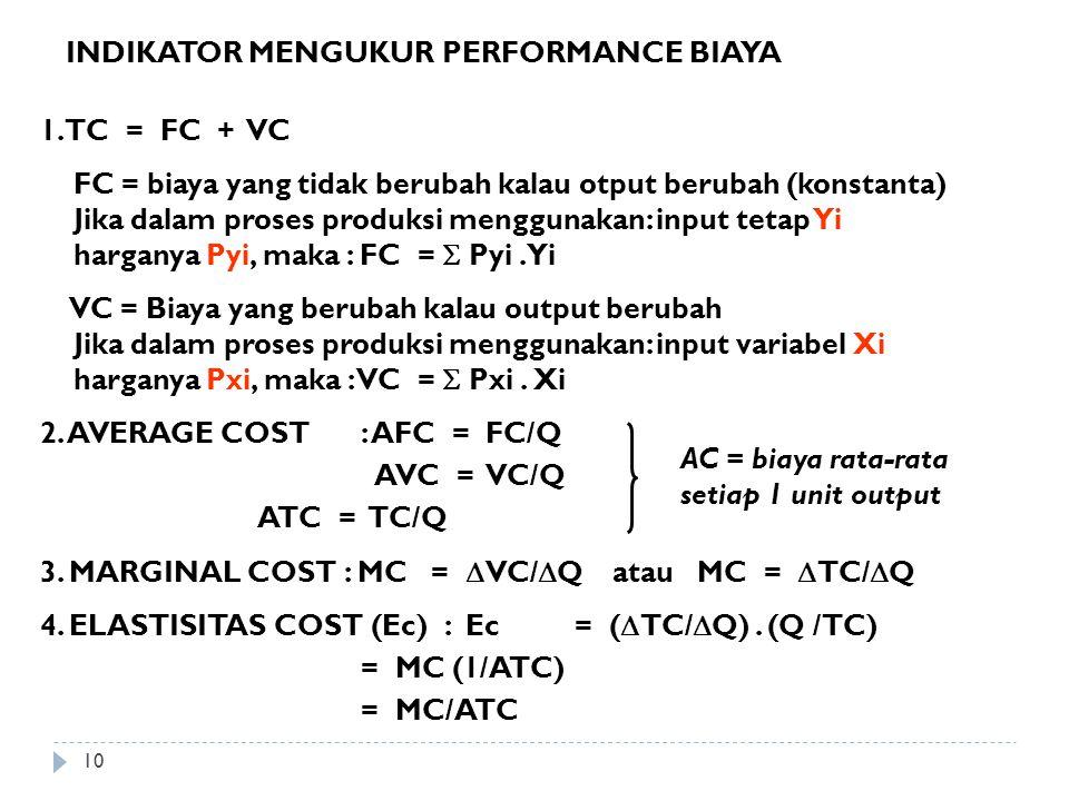INDIKATOR MENGUKUR PERFORMANCE BIAYA 1. TC = FC + VC FC = biaya yang tidak berubah kalau otput berubah (konstanta) Jika dalam proses produksi mengguna