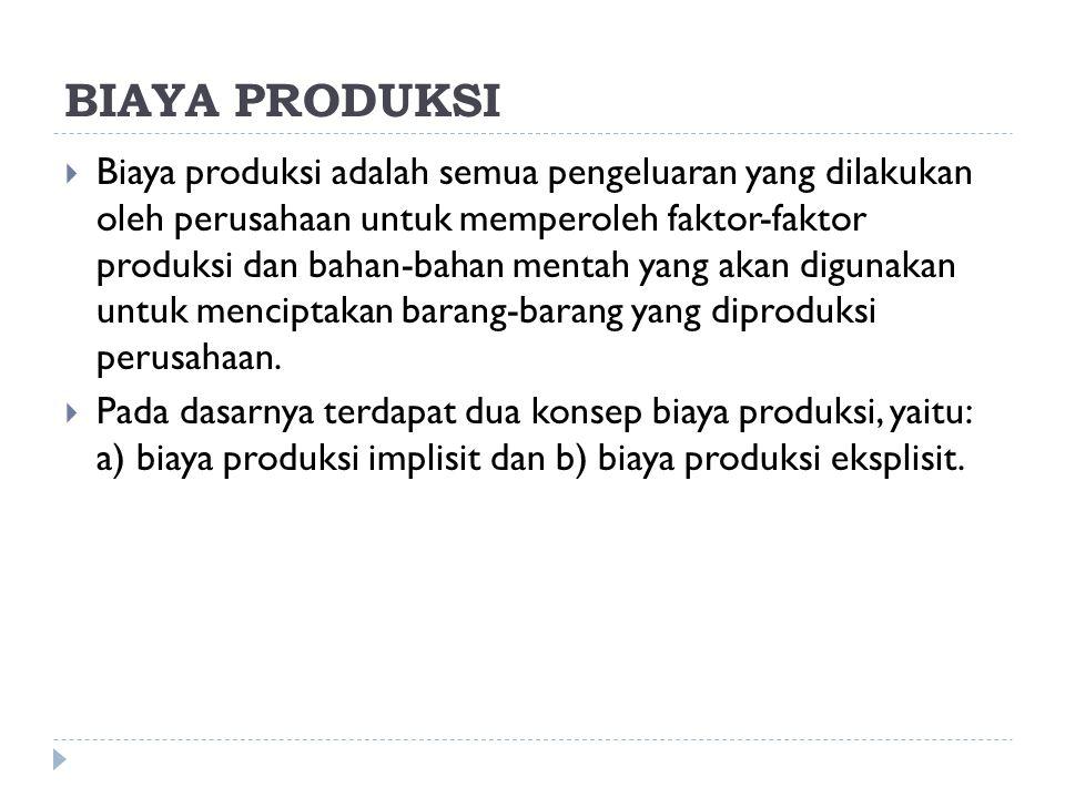 BIAYA PRODUKSI  Biaya produksi adalah semua pengeluaran yang dilakukan oleh perusahaan untuk memperoleh faktor-faktor produksi dan bahan-bahan mentah