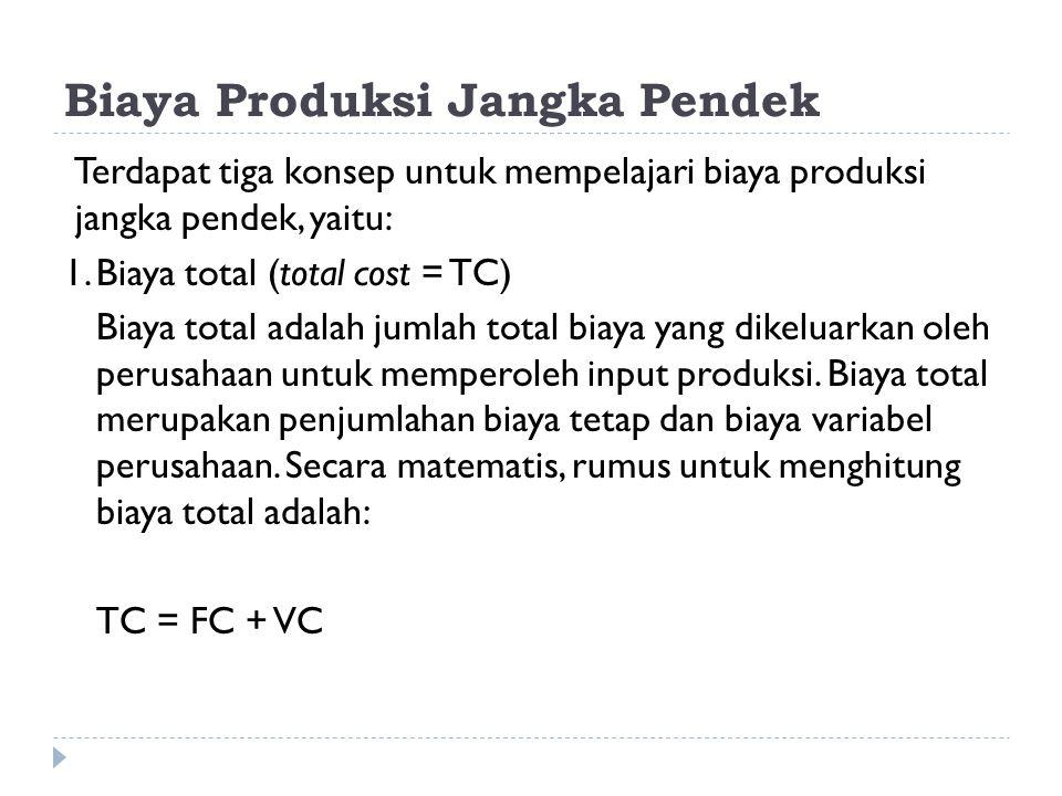 Biaya Produksi Jangka Pendek Terdapat tiga konsep untuk mempelajari biaya produksi jangka pendek, yaitu: 1.Biaya total (total cost = TC) Biaya total a