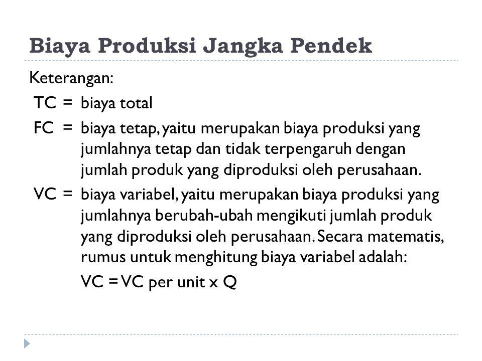 Biaya Produksi Jangka Pendek Keterangan: TC =biaya total FC =biaya tetap, yaitu merupakan biaya produksi yang jumlahnya tetap dan tidak terpengaruh de