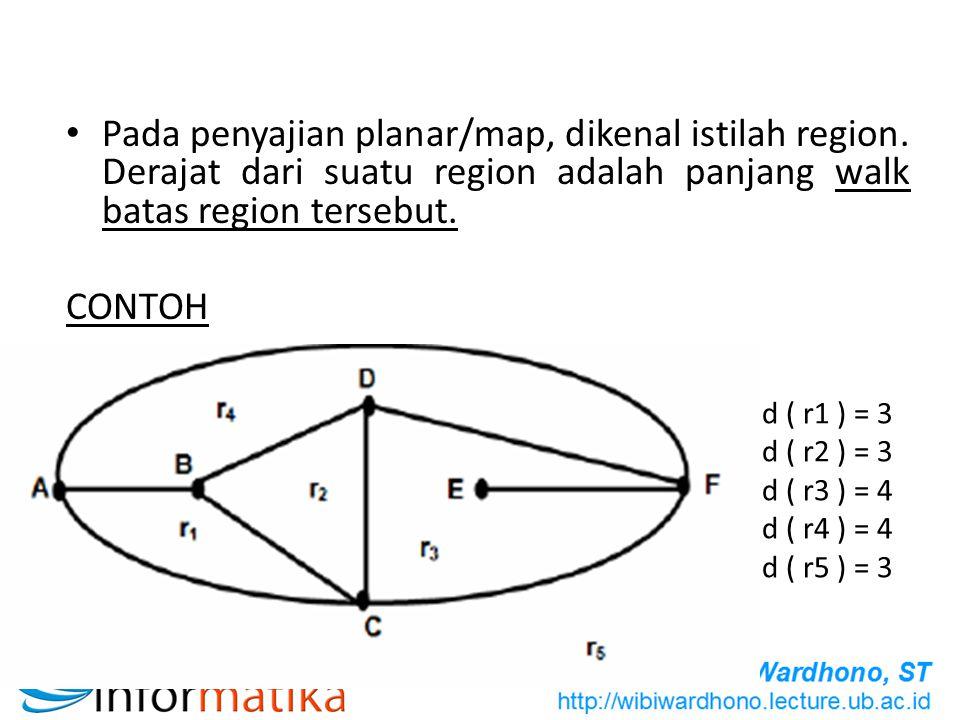 Pada penyajian planar/map, dikenal istilah region. Derajat dari suatu region adalah panjang walk batas region tersebut. CONTOH d ( r1 ) = 3 d ( r2 ) =