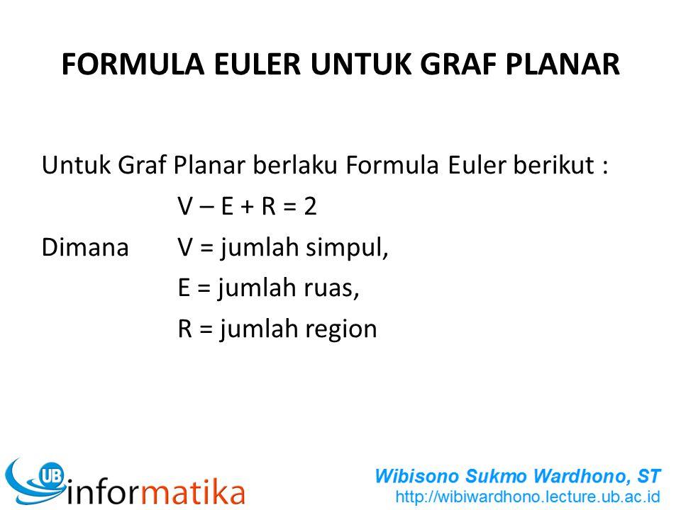 FORMULA EULER UNTUK GRAF PLANAR Untuk Graf Planar berlaku Formula Euler berikut : V – E + R = 2 Dimana V = jumlah simpul, E = jumlah ruas, R = jumlah
