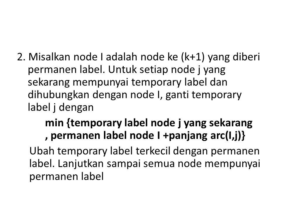 2. Misalkan node I adalah node ke (k+1) yang diberi permanen label. Untuk setiap node j yang sekarang mempunyai temporary label dan dihubungkan dengan