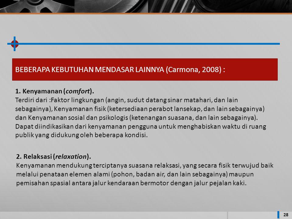 28 BEBERAPA KEBUTUHAN MENDASAR LAINNYA (Carmona, 2008) : 1.