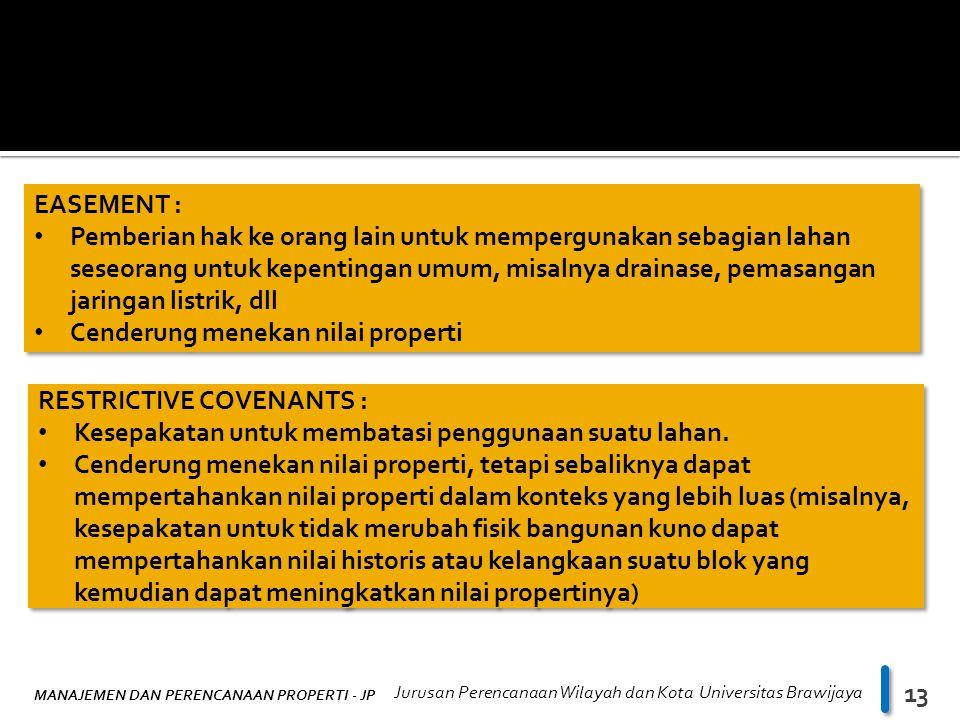 MANAJEMEN DAN PERENCANAAN PROPERTI - JP Jurusan Perencanaan Wilayah dan Kota Universitas Brawijaya 13 EASEMENT : Pemberian hak ke orang lain untuk mem