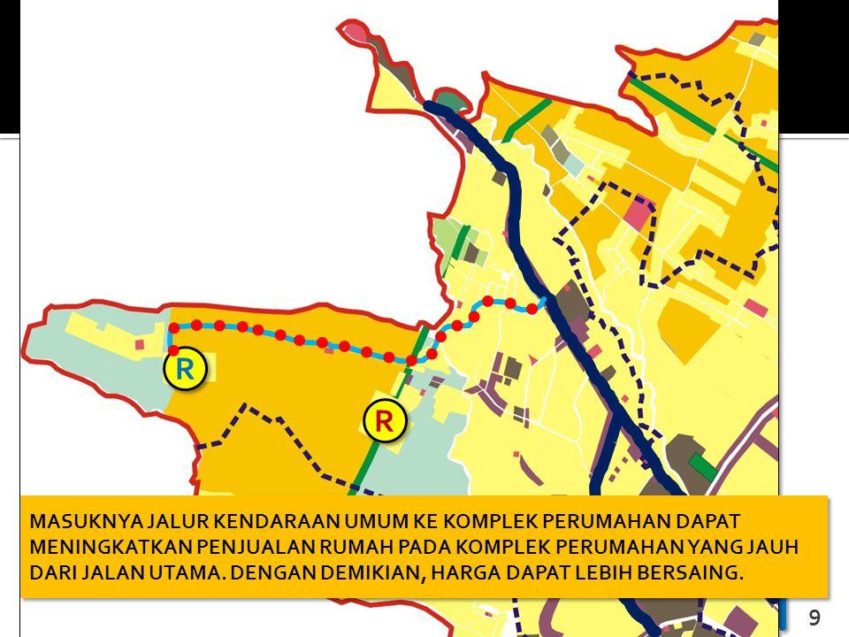 MANAJEMEN DAN PERENCANAAN PROPERTI - JP Jurusan Perencanaan Wilayah dan Kota Universitas Brawijaya 9 R R R R MASUKNYA JALUR KENDARAAN UMUM KE KOMPLEK