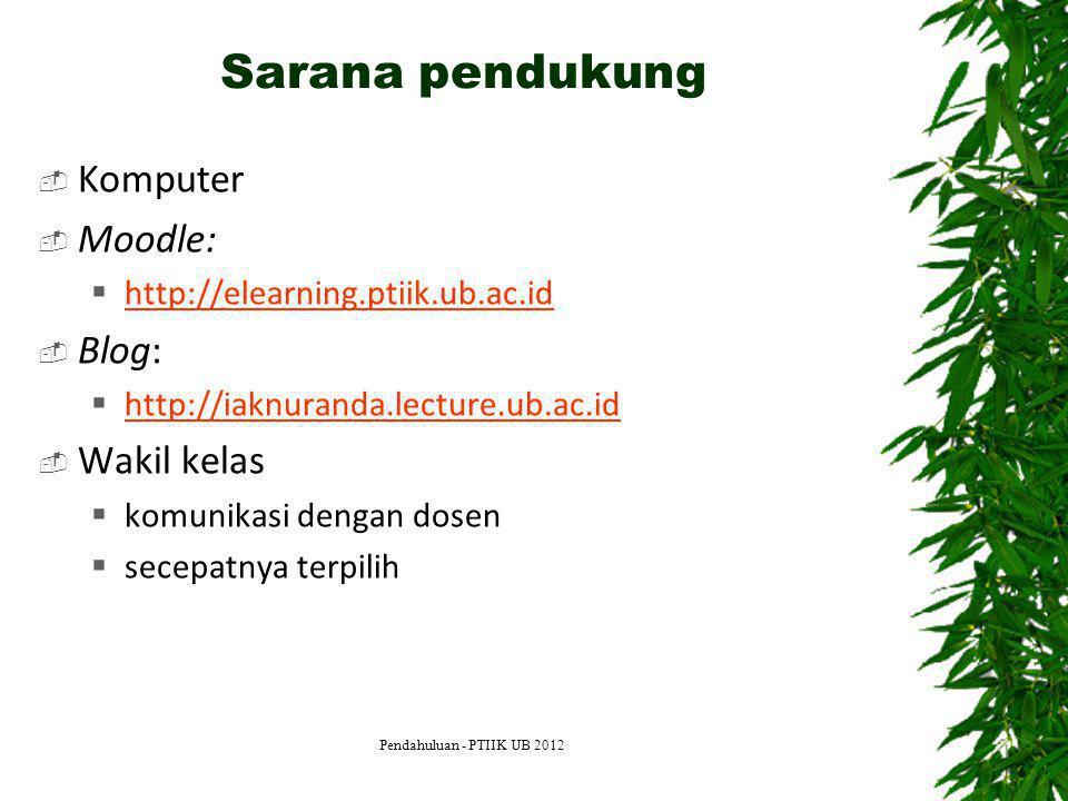 Sarana pendukung  Komputer  Moodle:  http://elearning.ptiik.ub.ac.id http://elearning.ptiik.ub.ac.id  Blog:  http://iaknuranda.lecture.ub.ac.id h