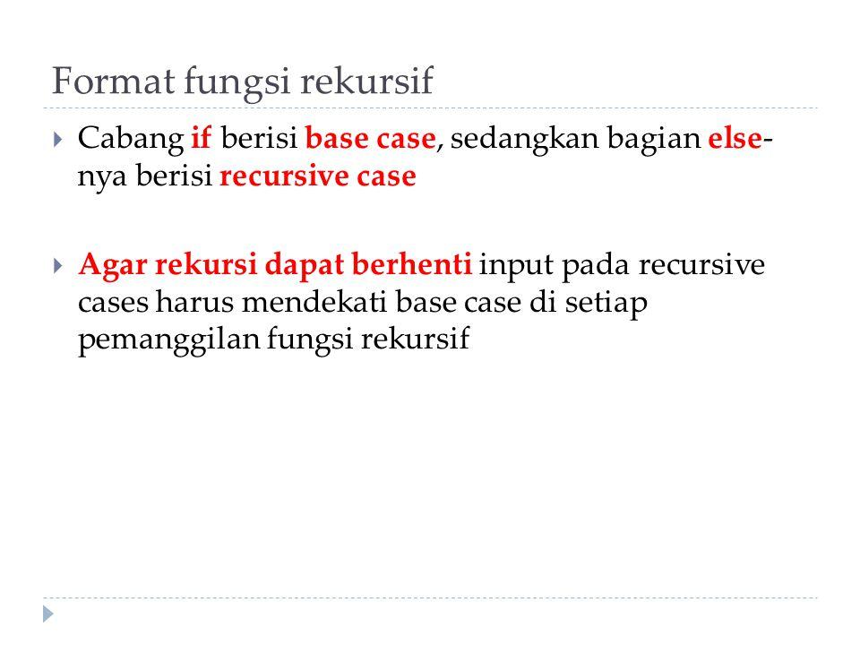 Format fungsi rekursif  Cabang if berisi base case, sedangkan bagian else- nya berisi recursive case  Agar rekursi dapat berhenti input pada recursi