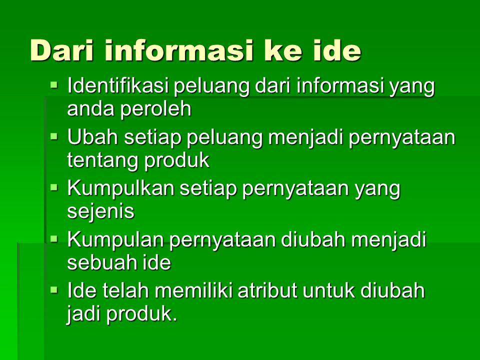Dari informasi ke ide  Identifikasi peluang dari informasi yang anda peroleh  Ubah setiap peluang menjadi pernyataan tentang produk  Kumpulkan seti