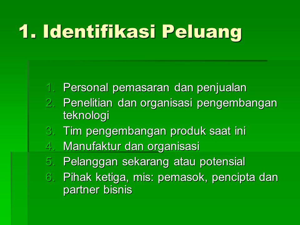 1. Identifikasi Peluang 1.Personal pemasaran dan penjualan 2.Penelitian dan organisasi pengembangan teknologi 3.Tim pengembangan produk saat ini 4.Man