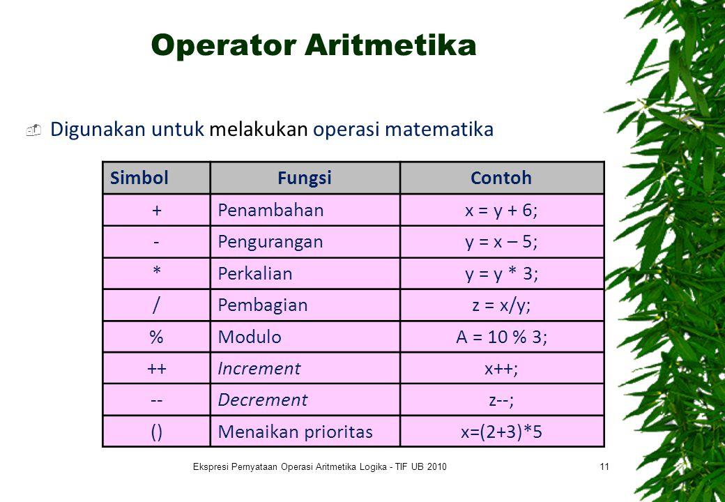 Operator Aritmetika  Digunakan untuk melakukan operasi matematika 11 SimbolFungsiContoh +Penambahanx = y + 6; -Pengurangany = x – 5; *Perkaliany = y * 3; /Pembagianz = x/y; %ModuloA = 10 % 3; ++Incrementx++; --Decrementz--; ()Menaikan prioritasx=(2+3)*5 Ekspresi Pernyataan Operasi Aritmetika Logika - TIF UB 2010