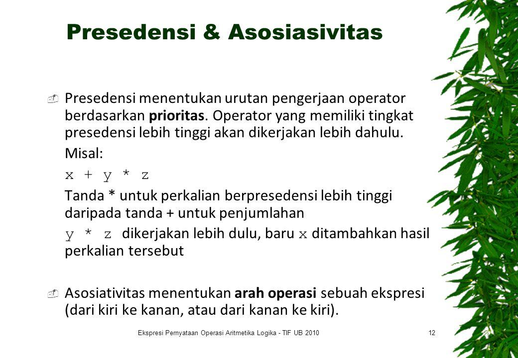 Presedensi & Asosiasivitas  Presedensi menentukan urutan pengerjaan operator berdasarkan prioritas. Operator yang memiliki tingkat presedensi lebih t