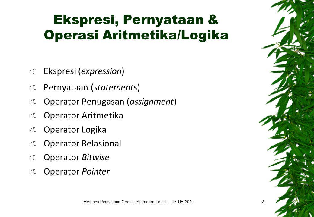 Ekspresi, Pernyataan & Operasi Aritmetika/Logika  Ekspresi (expression)  Pernyataan (statements)  Operator Penugasan (assignment)  Operator Aritme