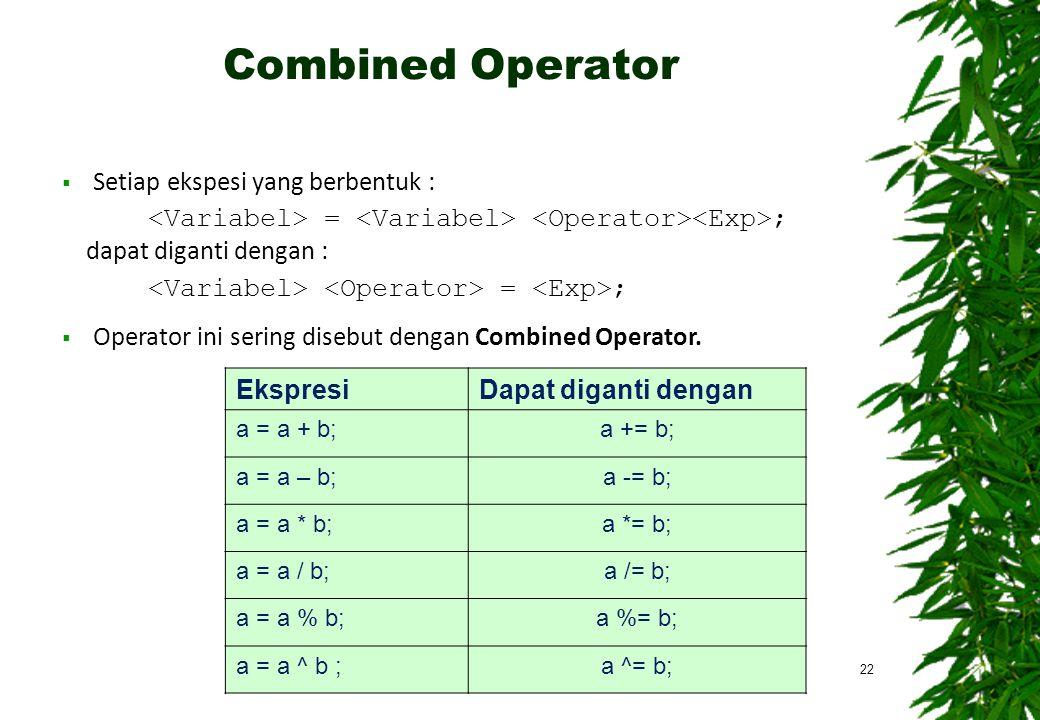 Combined Operator 22  Setiap ekspesi yang berbentuk : = ; dapat diganti dengan : = ;  Operator ini sering disebut dengan Combined Operator. Ekspresi