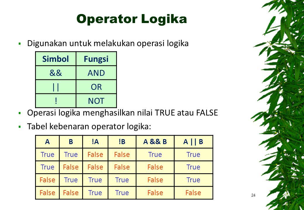  Digunakan untuk melakukan operasi logika  Operasi logika menghasilkan nilai TRUE atau FALSE  Tabel kebenaran operator logika: Operator Logika 24 SimbolFungsi &&AND ||OR !NOT Ekspresi Pernyataan Operasi Aritmetika Logika - TIF UB 2010 AB!A!BA && BA || B True False True False True FalseTrue FalseTrue False True False