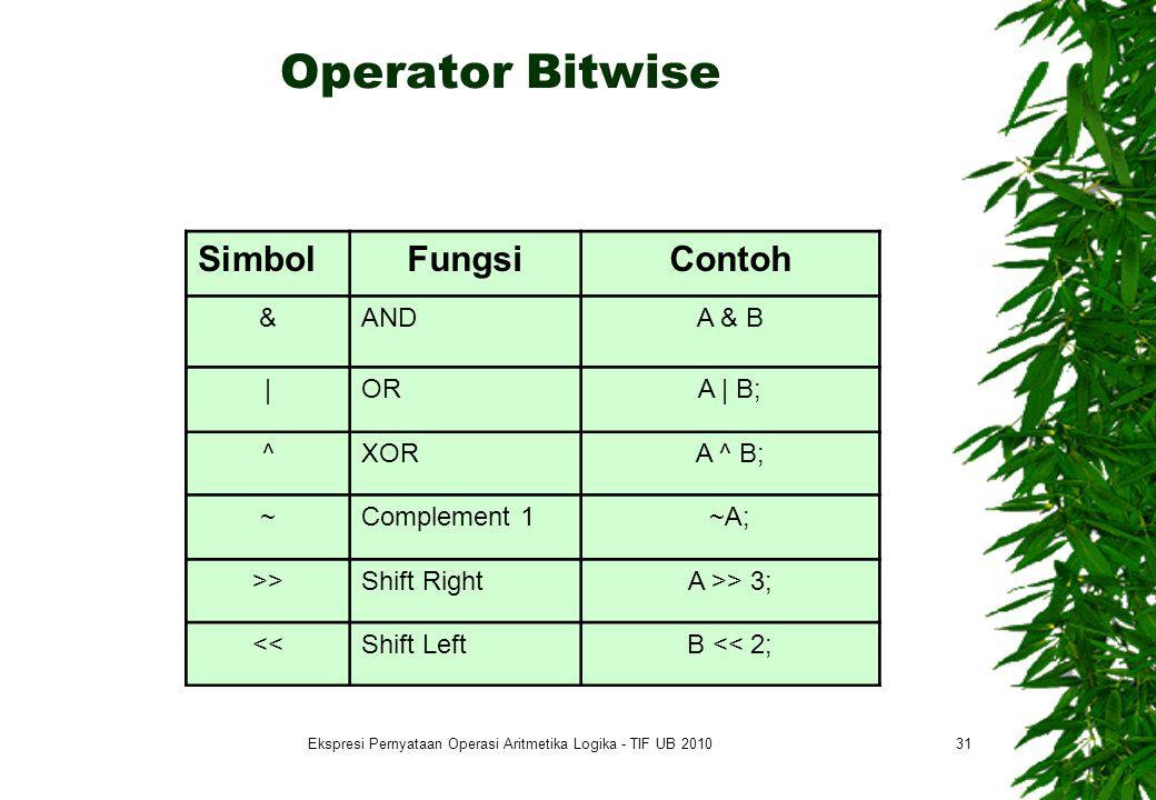 Operator Bitwise 31 SimbolFungsiContoh &ANDA & B |ORA | B; ^XORA ^ B; ~Complement 1~A; >>Shift RightA >> 3; <<Shift LeftB << 2; Ekspresi Pernyataan Operasi Aritmetika Logika - TIF UB 2010