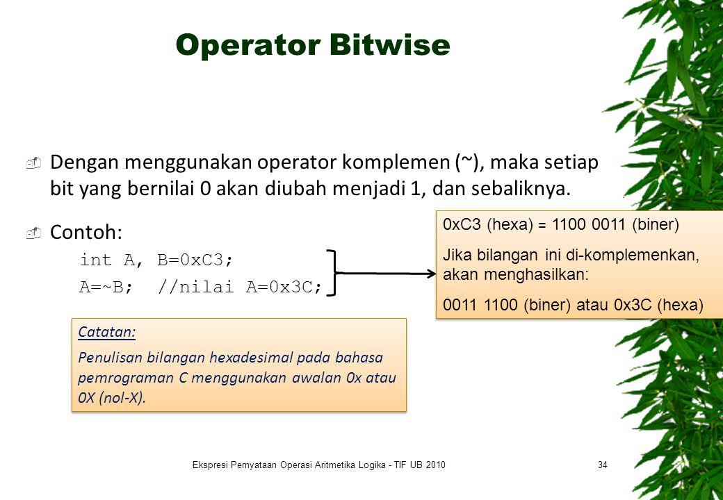 Operator Bitwise  Dengan menggunakan operator komplemen (~), maka setiap bit yang bernilai 0 akan diubah menjadi 1, dan sebaliknya.