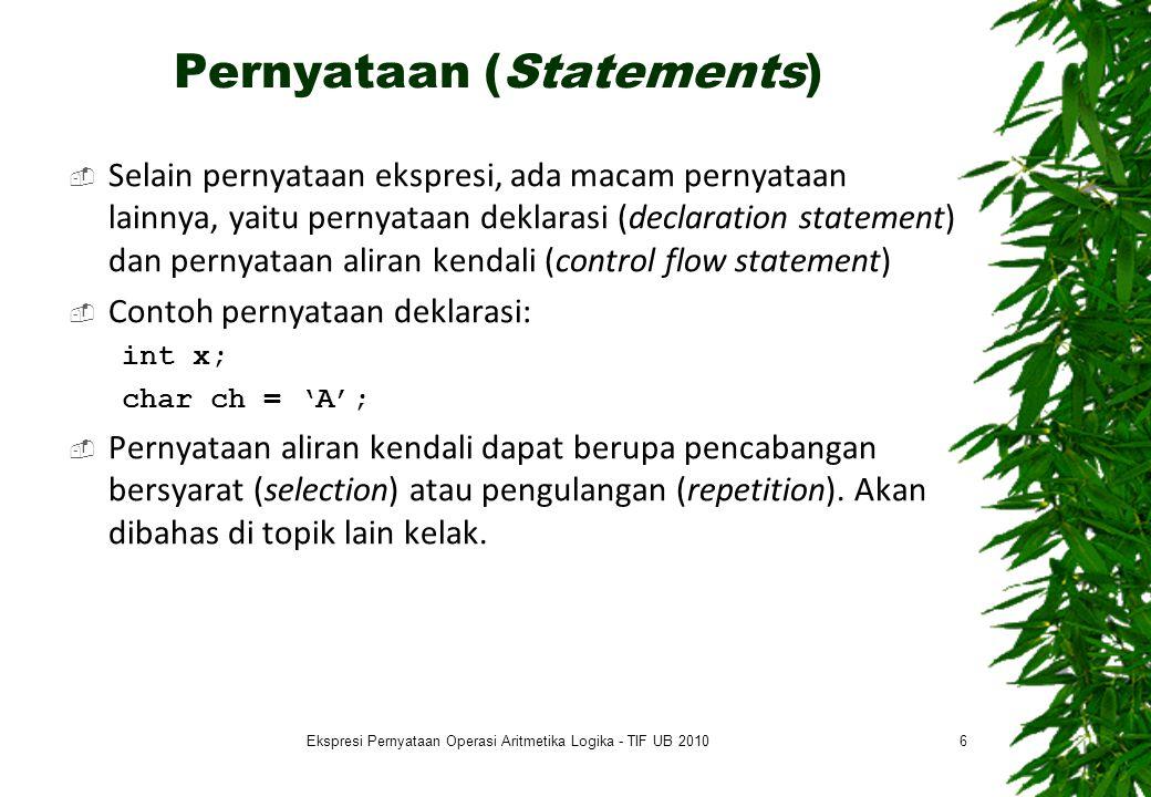 Presedensi & Asosiasivitas 17 #include int main () { int a, b, z=100; float x, y; printf( Melihat pengaruh prioritas dan urutan pengerjaan\n\n ); printf( Masukkan sebarang nilai integer: ); scanf( %d ,&a); x = a/3*3; y = a*3/3; z += b = a; printf( \n\nx = %d/3*3, diperoleh x = %f\n\n ,a,x); printf( y = %d*3/3, diperoleh y = %f\n\n ,a,y); printf( bila z=100, maka untuk z += b = %d diperoleh z = %d\n\n\n , a,z); system( PAUSE ); return(0); } #include int main () { int a, b, z=100; float x, y; printf( Melihat pengaruh prioritas dan urutan pengerjaan\n\n ); printf( Masukkan sebarang nilai integer: ); scanf( %d ,&a); x = a/3*3; y = a*3/3; z += b = a; printf( \n\nx = %d/3*3, diperoleh x = %f\n\n ,a,x); printf( y = %d*3/3, diperoleh y = %f\n\n ,a,y); printf( bila z=100, maka untuk z += b = %d diperoleh z = %d\n\n\n , a,z); system( PAUSE ); return(0); } Ekspresi Pernyataan Operasi Aritmetika Logika - TIF UB 2010