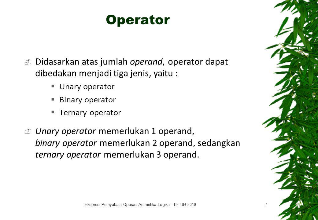 Operator  Didasarkan atas jumlah operand, operator dapat dibedakan menjadi tiga jenis, yaitu :  Unary operator  Binary operator  Ternary operator  Unary operator memerlukan 1 operand, binary operator memerlukan 2 operand, sedangkan ternary operator memerlukan 3 operand.