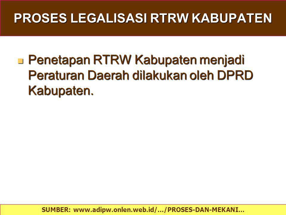 PROSES LEGALISASI RTRW KABUPATEN Penetapan RTRW Kabupaten menjadi Peraturan Daerah dilakukan oleh DPRD Kabupaten. Penetapan RTRW Kabupaten menjadi Per