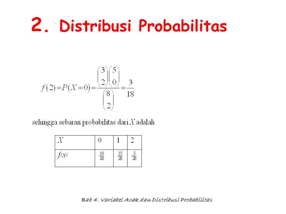 Bab 4. Variabel Acak dan Distribusi Probabilitas 2. Distribusi Probabilitas