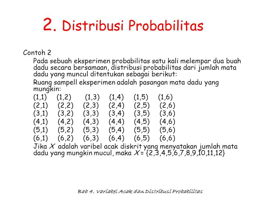 Bab 4. Variabel Acak dan Distribusi Probabilitas 2. Distribusi Probabilitas Contoh 2 Pada sebuah eksperimen probabilitas satu kali melempar dua buah d