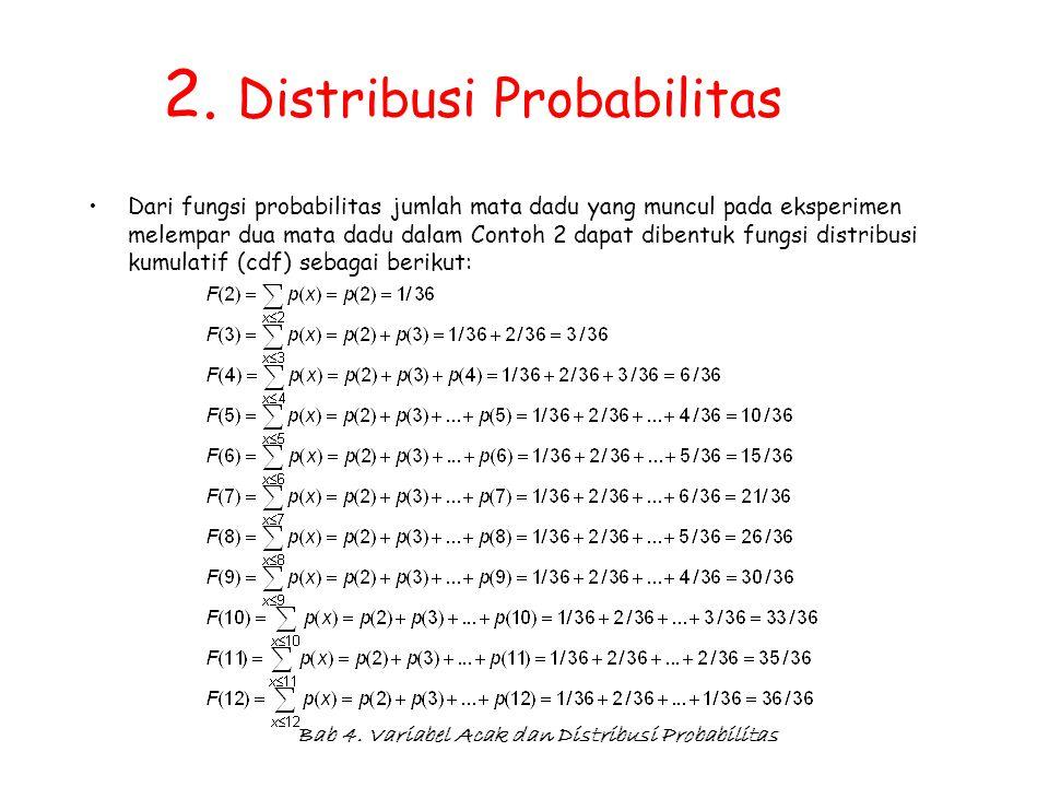 Bab 4. Variabel Acak dan Distribusi Probabilitas 2. Distribusi Probabilitas Dari fungsi probabilitas jumlah mata dadu yang muncul pada eksperimen mele