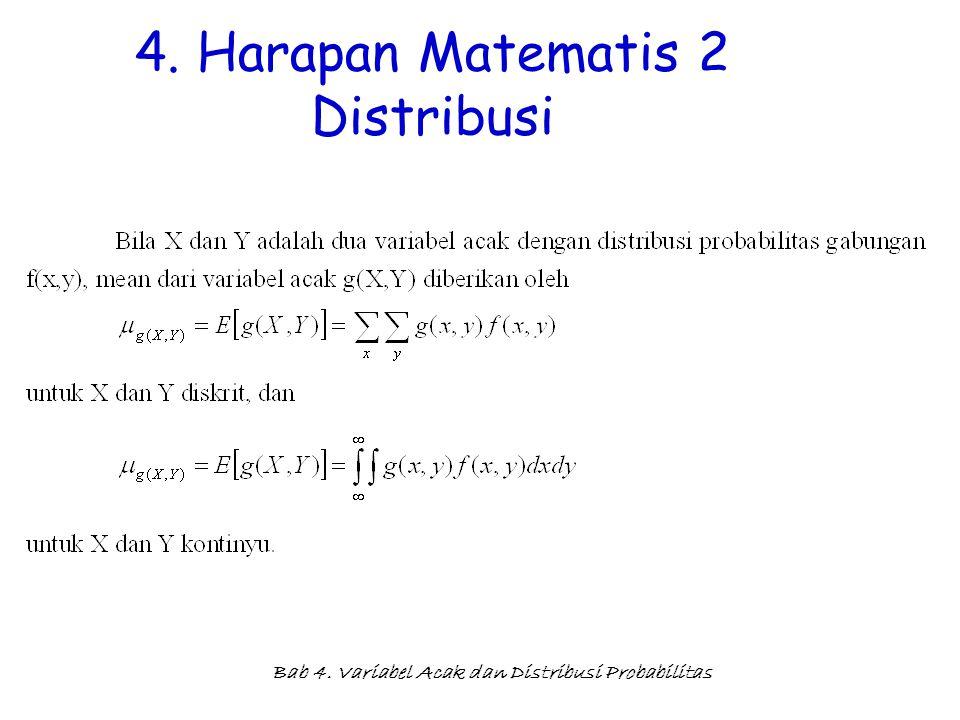 Bab 4. Variabel Acak dan Distribusi Probabilitas 4. Harapan Matematis 2 Distribusi