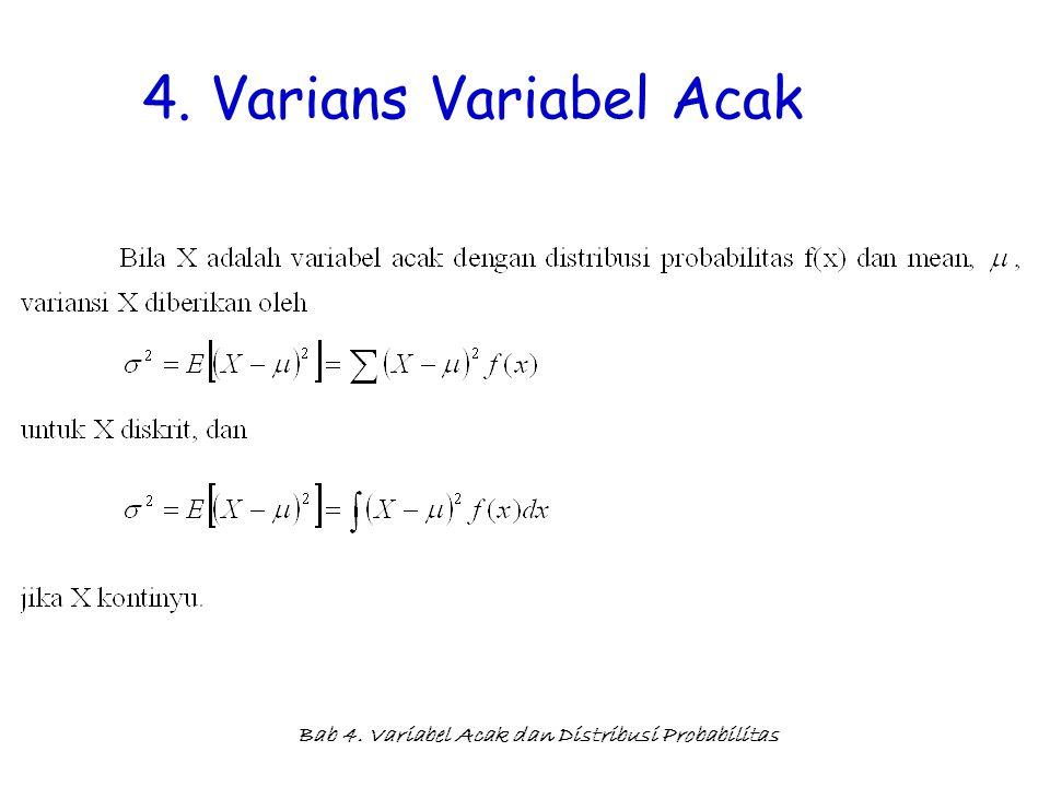 Bab 4. Variabel Acak dan Distribusi Probabilitas 4. Varians Variabel Acak
